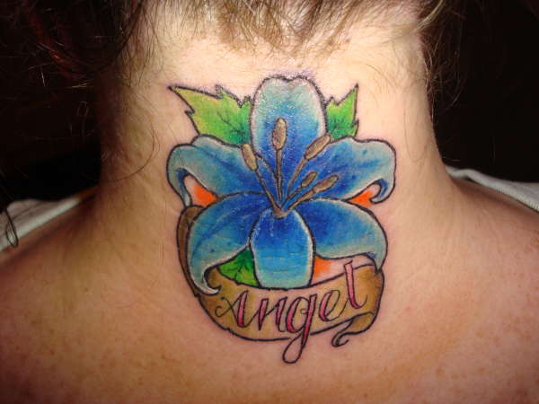 blue lilly tattoo