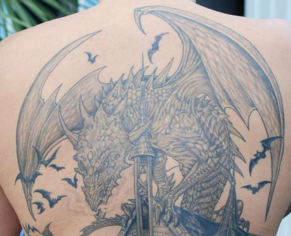 close up of dragon tattoo
