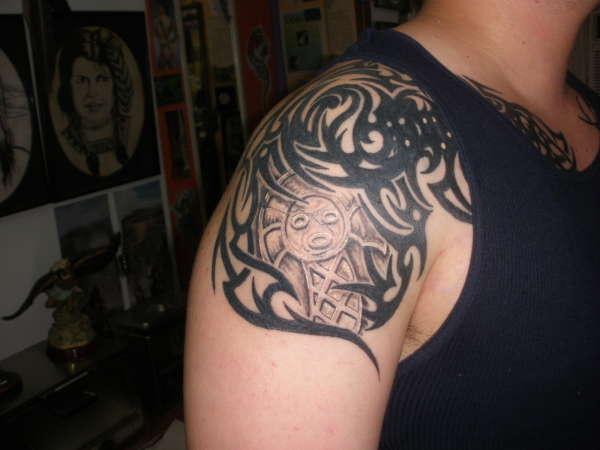 Tribal With Taino Symbol Tattoo