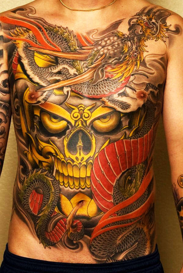 Epic Japanese Skull and Dragon tattoo