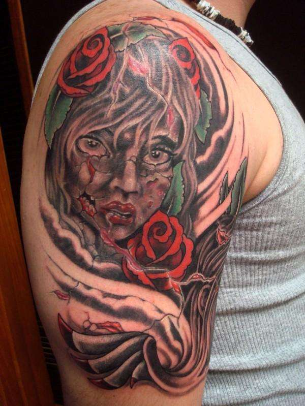 Neo Traditional Zombie Girl tattoo