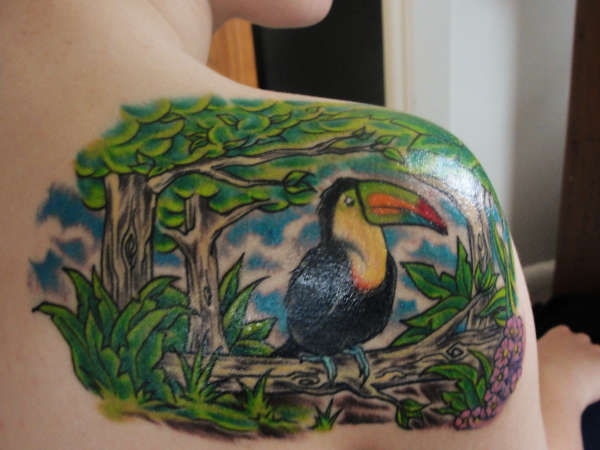 tucan jungle on my shoulder tattoo