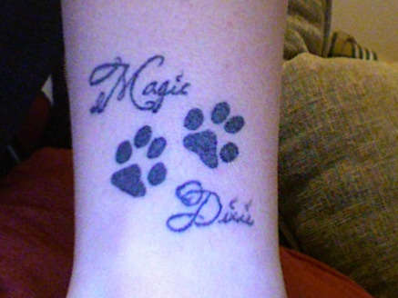 My dogs real paw prints tattoo