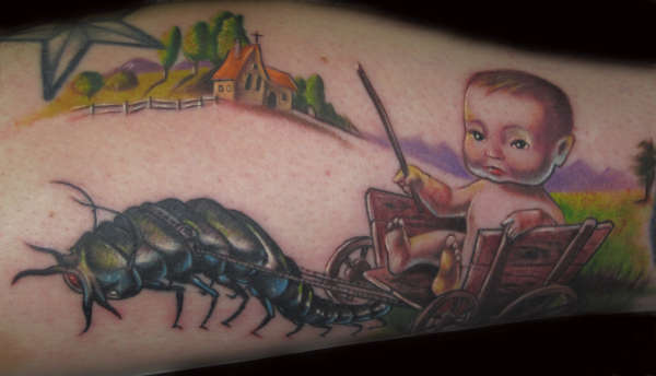 creepy baby tattoo