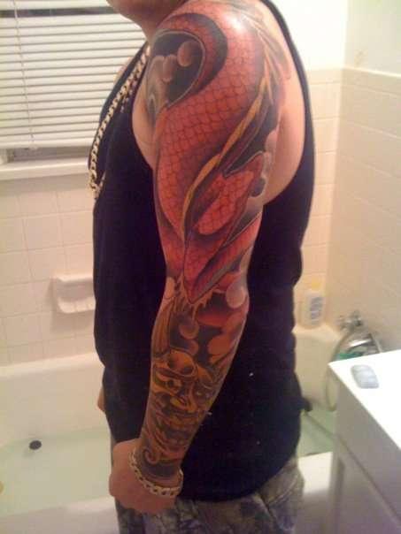 japanese dragon and oni mask tattoo