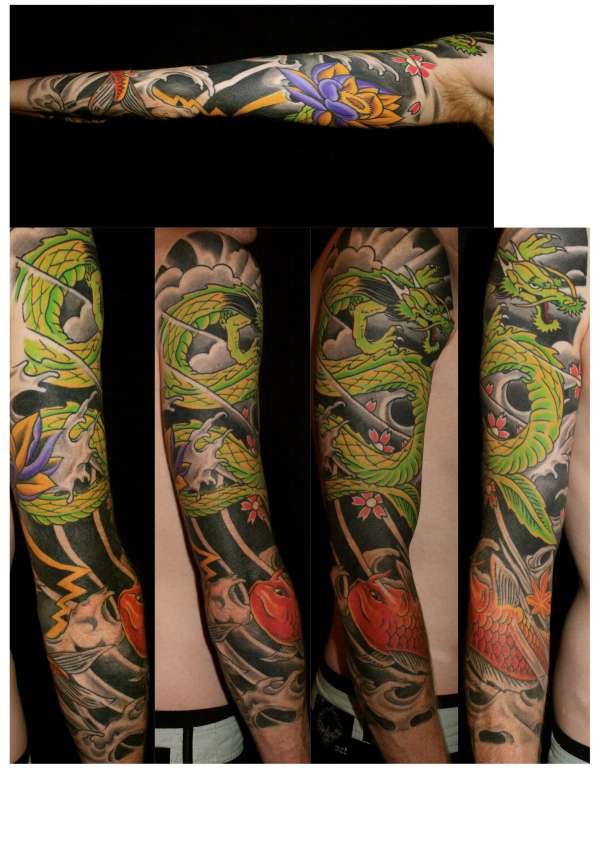 Japanese 3/4 sleeve tattoo
