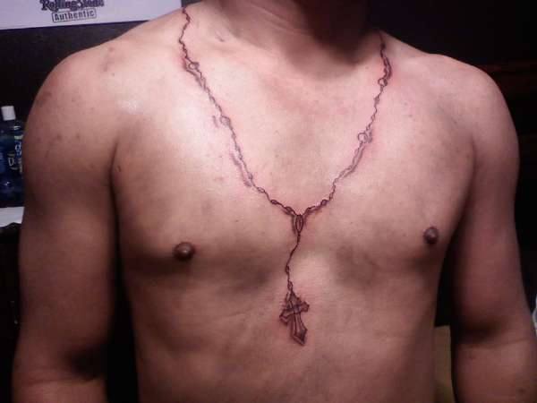 Rosary tattoo for Necklace tattoo designs