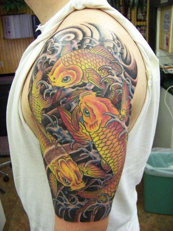 Three koi tattoo for Koi meaning in english