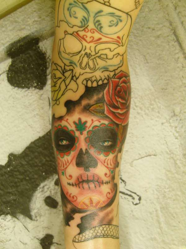 Day of the dead style sleeve tattoo