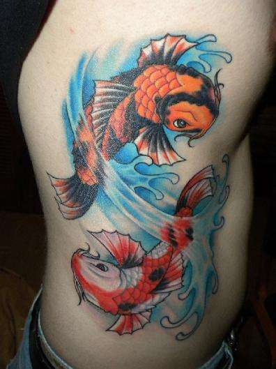 Koi in water tattoo