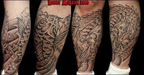 koi and dragon half sleeve leg tattoo. Black Bedroom Furniture Sets. Home Design Ideas