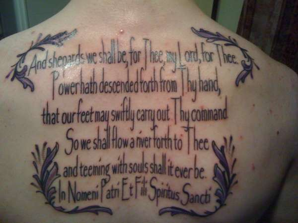 The Boondock Saints Prayer tattoo