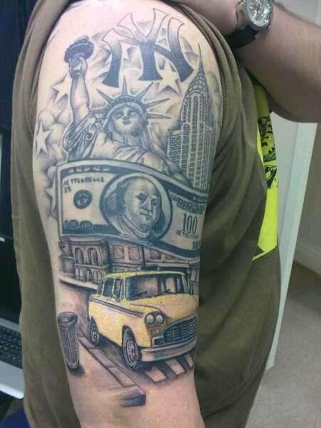 New York sleeve-still in progress tattoo
