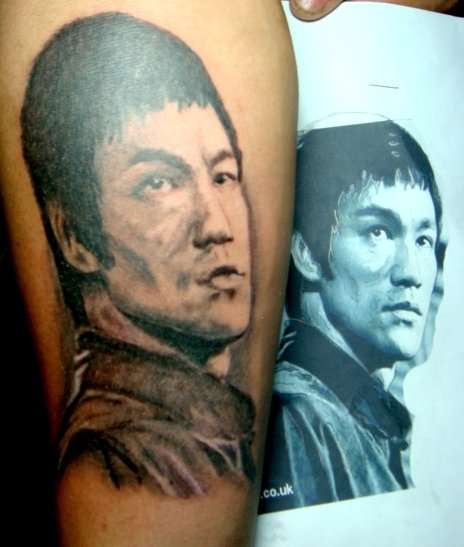 Portrait Bruce Lee tattoo