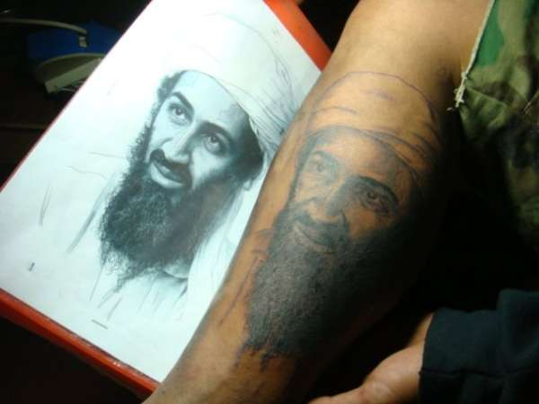 Portrait Osama Bin Laden tattoo