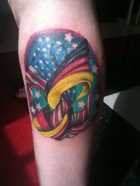 german and american flag tattoo