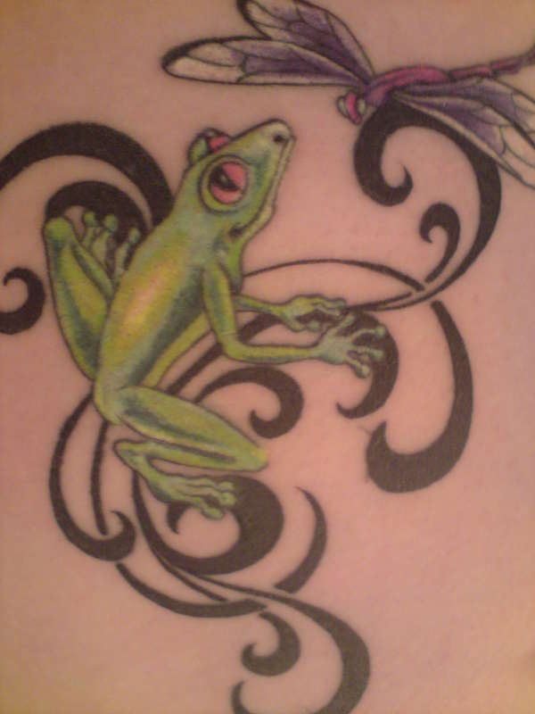 Frog and Dragonfly tattoo