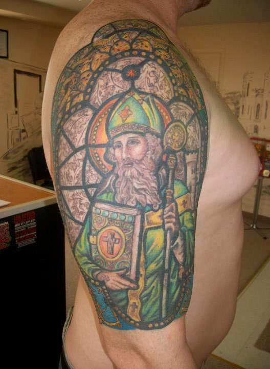St Patrick by Jessica Morsey tattoo