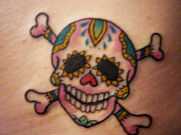 Sugar skull crossbones tattoo for Skull and crossbones tattoo