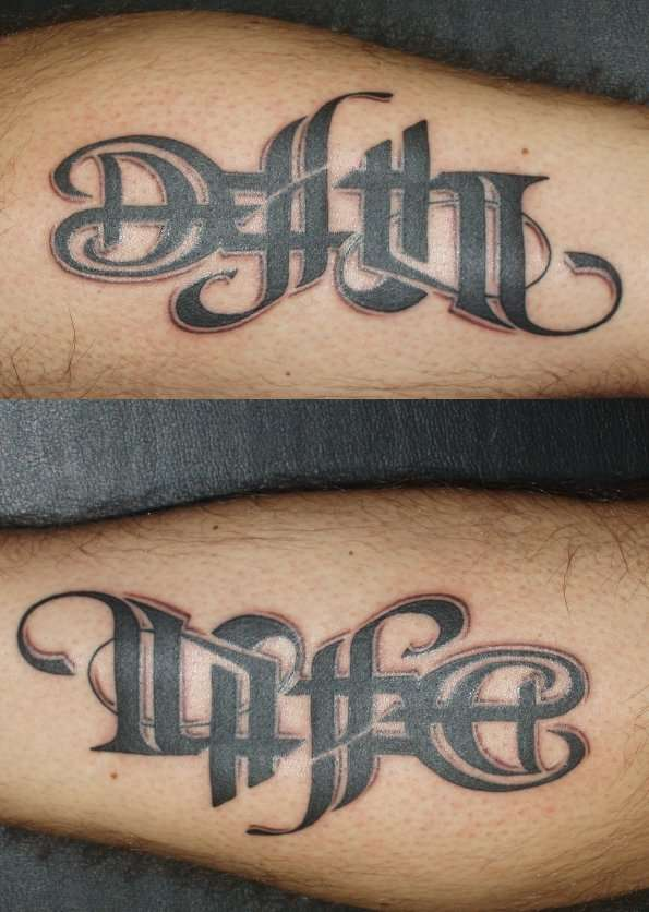 Life and death tattoo for Tattoos that say something different upside down