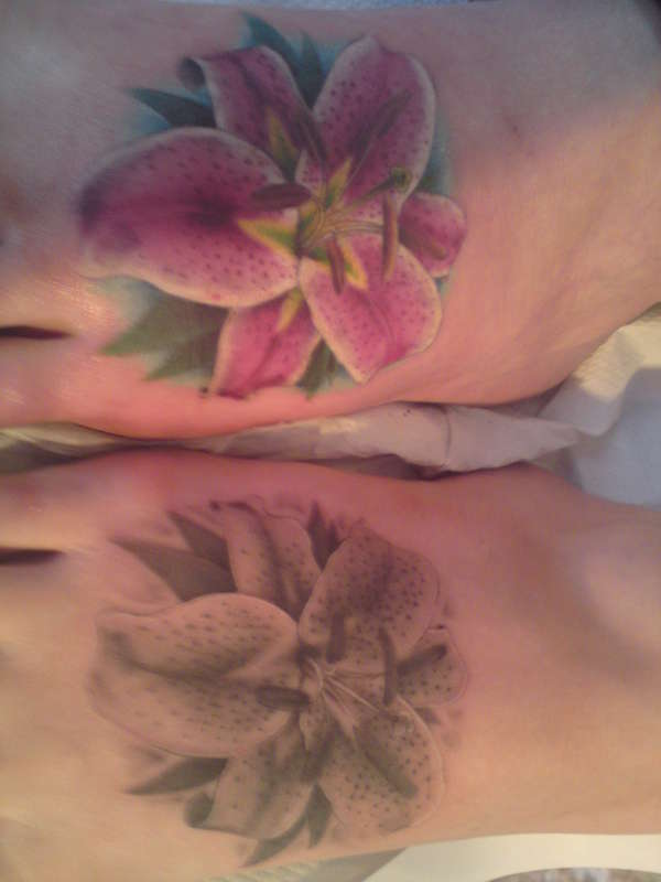 lilly on foot tattoo