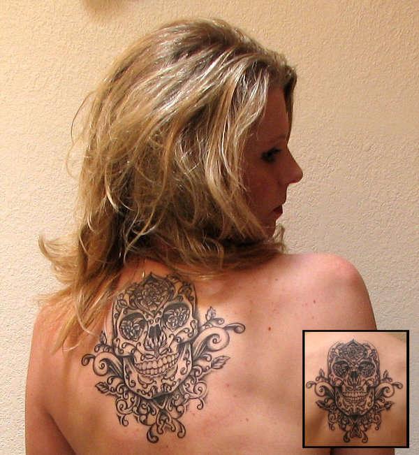 Marigold Skull tattoo