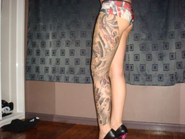 full leg kois tattoo