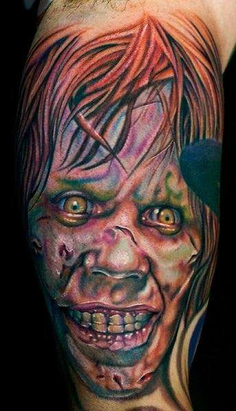 Reagan from The Exorcist done by Cecil Porter tattoo