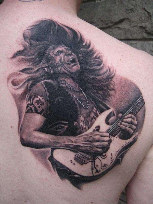 Tattoo By: Bob Tyrrell - Steve Vai tattoo