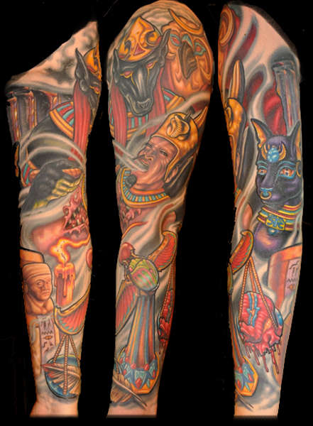 Egyptian Sleeve Finished and Healed tattoo