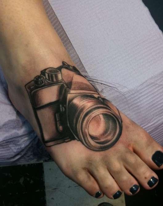 Foot camera tattoo