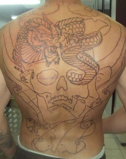 start of backpiece tattoo