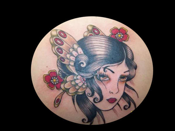 butterfly girl tattoo