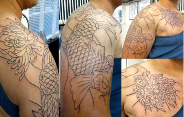 Mike S Koi Sleeve Chest Panel Unfinished Big Jpg 2400 3200: Koi Sleeve/chest Piece Tattoo