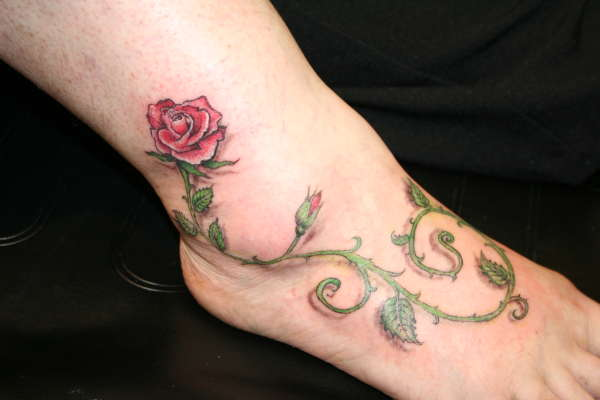 Rose and Vine foot tattoo tattoo