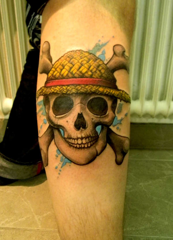 Strawhat Pirate Skull (One Piece) tattoo