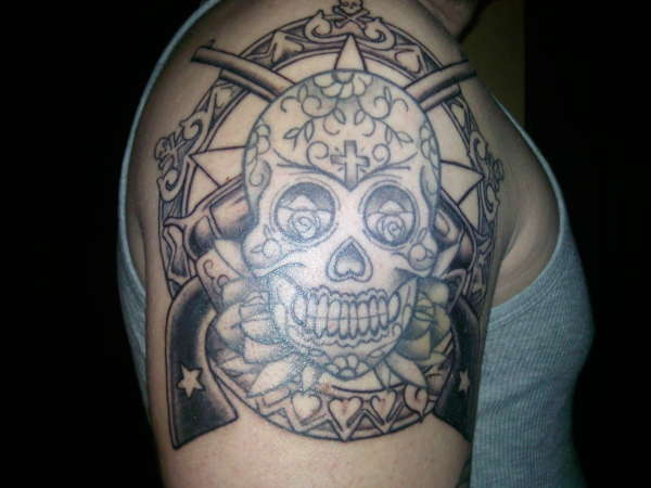 Skulls And Guns Tattoos: Sugar Skull & Guns Tattoo