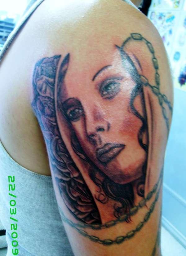 religous mary rosary grey wash portrait tattoo