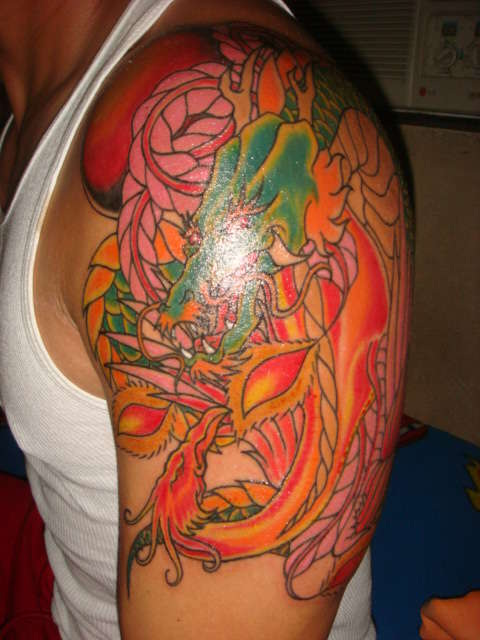 ying yang dragon and phoenix tattoo