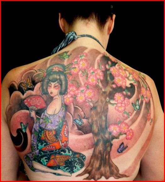Geisha Cherry Blossom half back tattoo