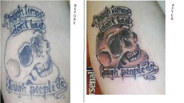 My Skull tattoo before and after. tattoo