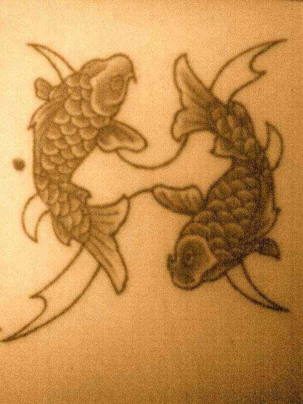 2 Koi Pisces Symbol Tattoo