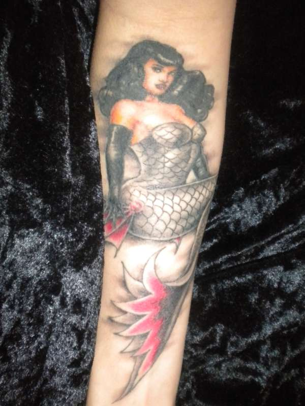 Bettie Page Mermaid tattoo