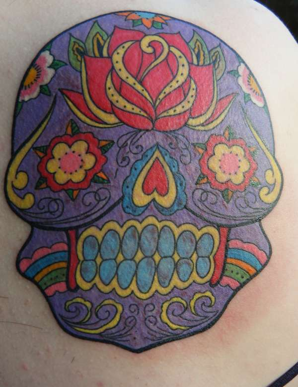 Full colour Mexican Day of the Dead Sugar Skull tattoo