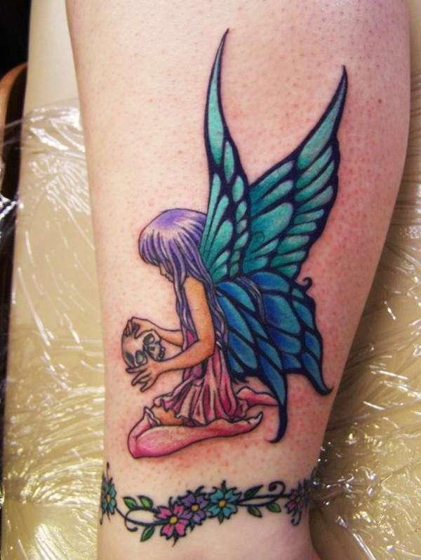 Fairy Girl With Skull tattoo