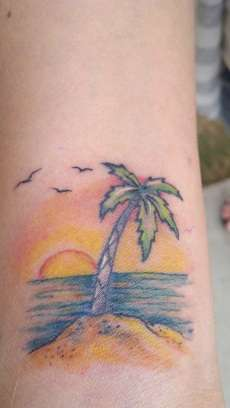 Beach Sunset with Palm Tree tattoo