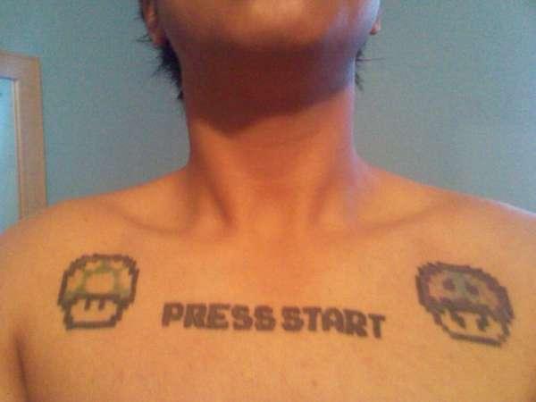 press start tattoo