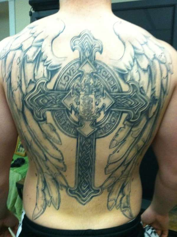 eabe067c4 Back Cross and Wings tattoo