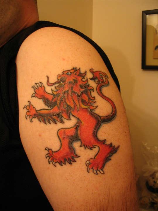 Lion Rampant Scottish Flag Tattoo