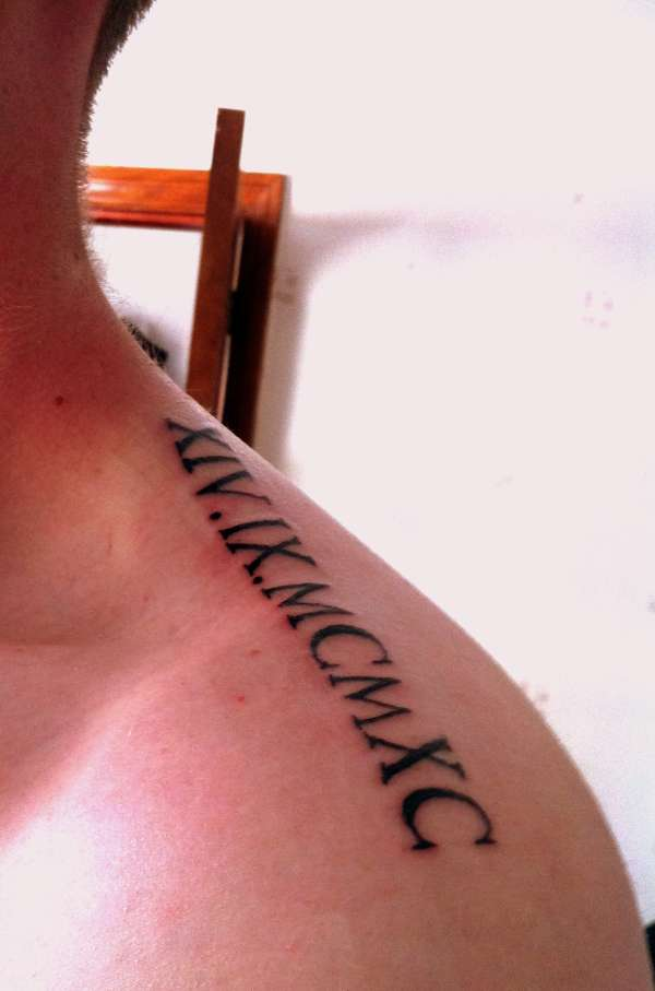 Date Of Birth Roman Numerals tattoo